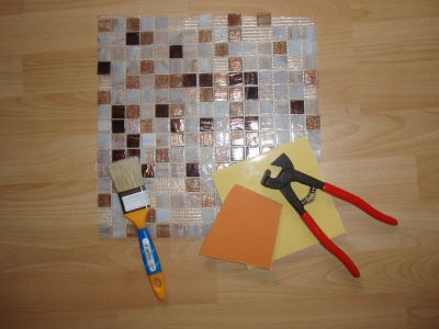 Кусачки для измельчения плитки, плоская кисть для клея и мозаика
