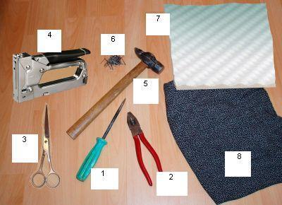Для замены обивки понадобятся следующие инструменты